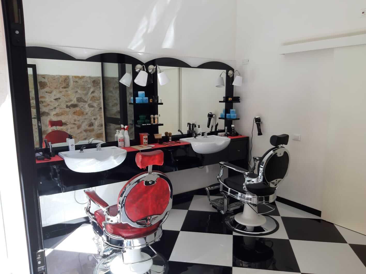 poltrona barber cromata vintage per barber shop Tony